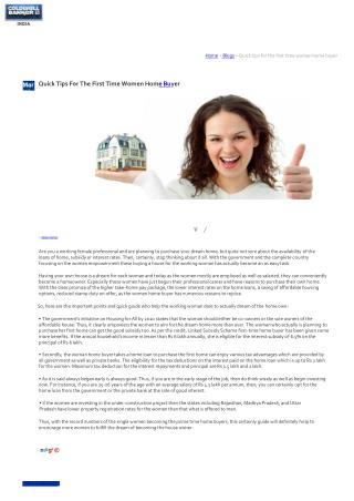 Quick Tips For The First Time Women Home Buyer