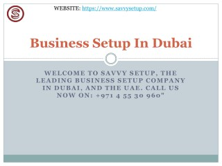 Business Setup In Dubai Savvy Setup