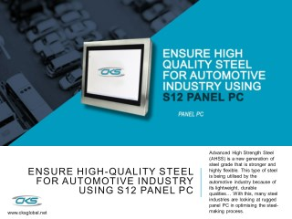 Ensure High-Quality Steel for Automotive Industry Using S12 Panel PC