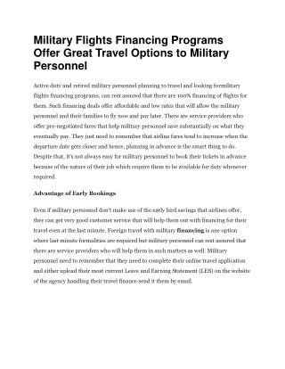 Military Flights Financing Programs Offer Great Travel Options to Military Personnel