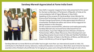 Sandeep Marwah Appreciated at Fame India Event