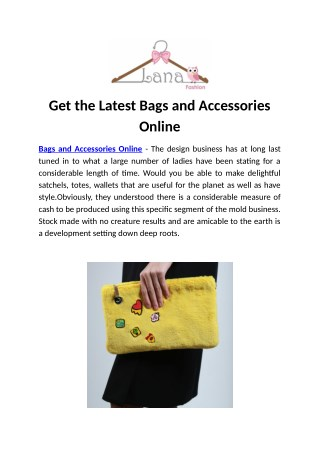 Get the Latest Bags and Accessories Online
