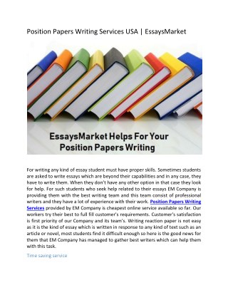 Position Papers Writing Services USA | EssaysMarket