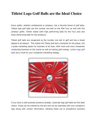 Titleist Logo Golf Balls are the Ideal Choice