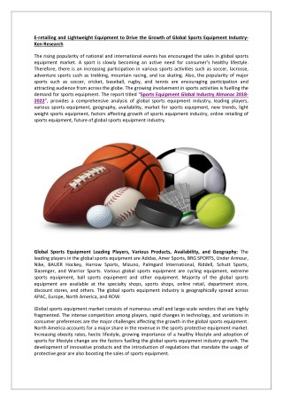 Global Sports Equipment Market Leading Players, Global Sports Equipment Market Leading Online Retailers-Ken Research