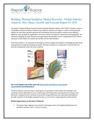 Global Building Thermal Insulation Market Research Report, Trends and Forecast, 2017-2025