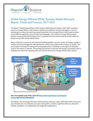Energy efficient hvac systems Market Forecast to 2025: Dynamics, Analysis & Supply Demands