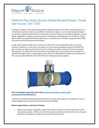 In-Pipe Hydro Systems Market Size, Share, Analysis, Industry Demand and Forecasts Report to 2018