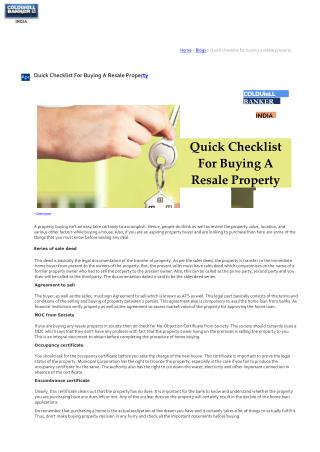 Quick Checklist For Buying A Resale Property