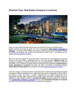 Shalimar Corp- Real Estate Company in Lucknow