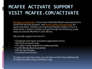visit www.mcafee.com/activate quick mcafee activate Support