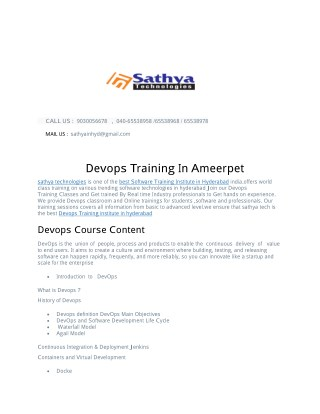 Devops training in ameerpet