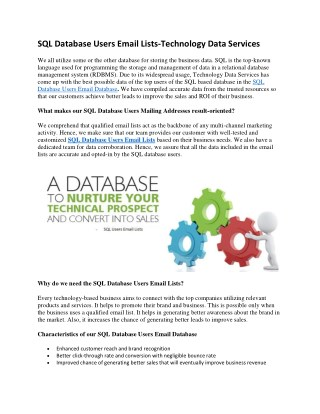 SQL Database Users Email Lists | SQL Database Users Email Database