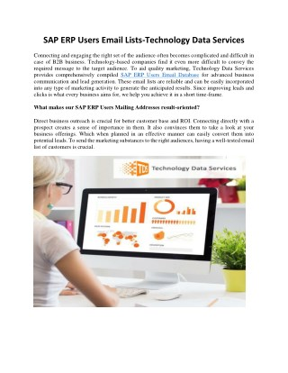 SAP ERP Users Email Lists | SAP ERP Users Email Database