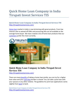 Quick Home Loan Company in India Tirupati Invest Services TIS