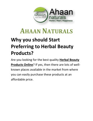 Why you should Start Preferring to Herbal Beauty Products?