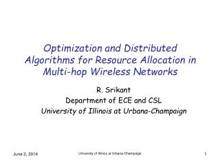 Optimization and Distributed Algorithms for Resource Allocation in Multi-hop Wireless Networks