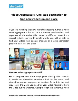 Video Aggregators- One-stop destination to find news videos in one place