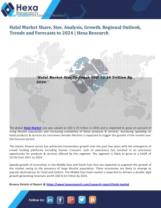 Global Halal Market Research Report - Industry Analysis and Forecast to 2024