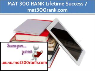MAT 300 RANK Lifetime Success / mat300rank.com