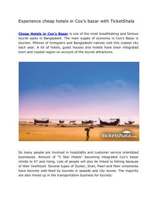 Experience cheap hotels in Cox's bazar with TicketShala