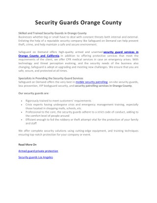 Security Service Orange County