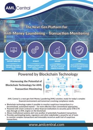 AML Central - the next-gen Anti Money Laundering (AML) Transaction Monitoring platform; powered by Blockchain technology