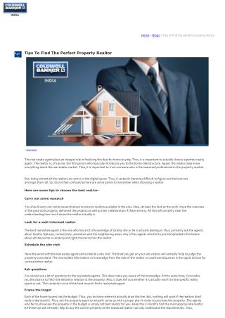 Tips To Find The Perfect Property Realtor