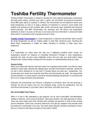 Toshiba Fertility Thermometer