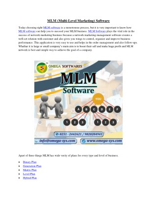 MLM (Multi Level Marketing) Software