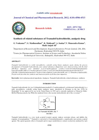 Synthesis of related substances of Tramadol hydrochloride, analgesic drug