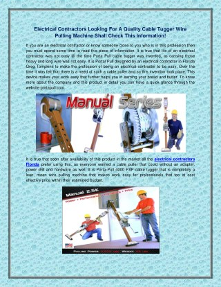 Electrical contractors looking for a quality cable tugger wire pulling machine shall check this information!