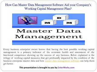 How Can Master Data Management Software Aid your Companys Working Capital Management Plan?