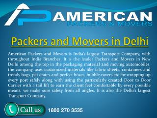 Packers and Movers in Delhi by American Packers and Movers