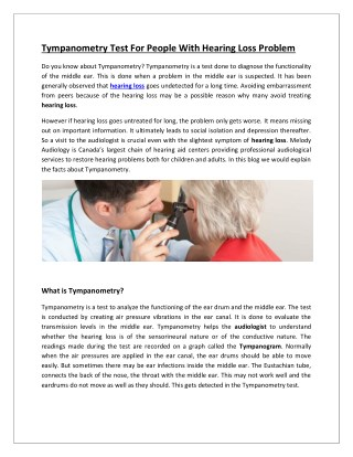 Tympanometry Test For People With Hearing Loss Problem