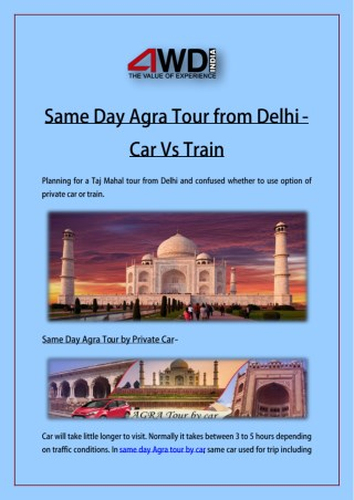 Same Day Agra Tour from Delhi - Car Vs Train