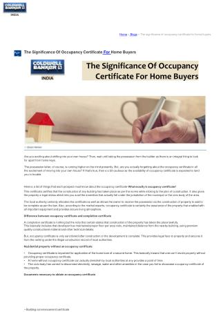 The Significance Of Occupancy Certificate For Home Buyers