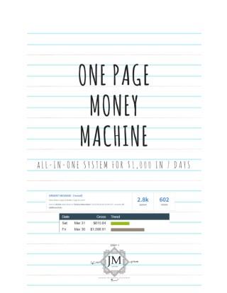 One PAGE MONEY MACHINE