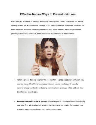 Effective Natural Ways to Prevent Hair Loss