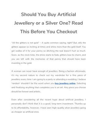 Should You Buy Artificial Jewellery or a Silver One