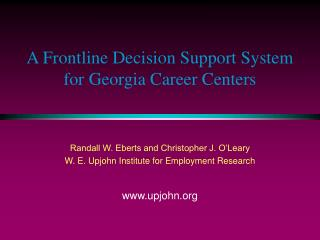 A Frontline Decision Support System for Georgia Career Centers