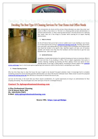 Deciding The Best Type Of Cleaning Services For Your Home And Office Needs