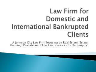 Law Firm for Domestic and International Bankrupted Clients