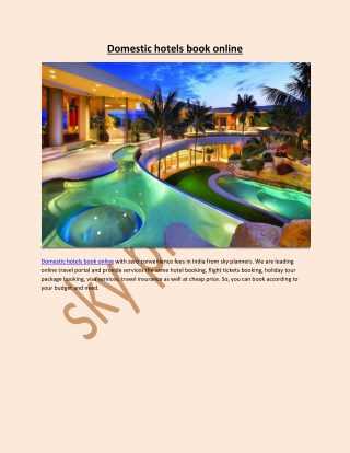 Domestic hotels book online