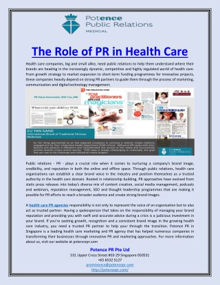 The Role of PR in Health Care