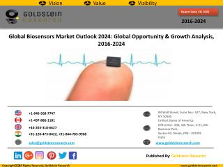 Global Biosensors Market Outlook 2024: Global Opportunity And Demand Analysis, Market Forecast, 2016-2024