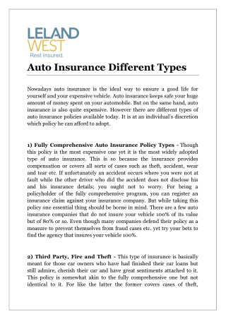 Auto Insurance Different Types