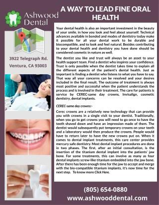 A Way To Lead Fine Oral Health