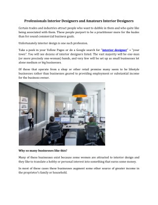 Professional and Amateur Interior Designers