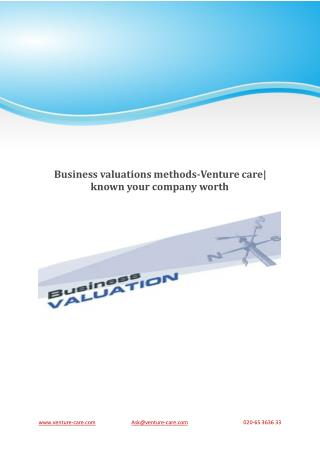 Business valuations methods-Venture care| known your company worth